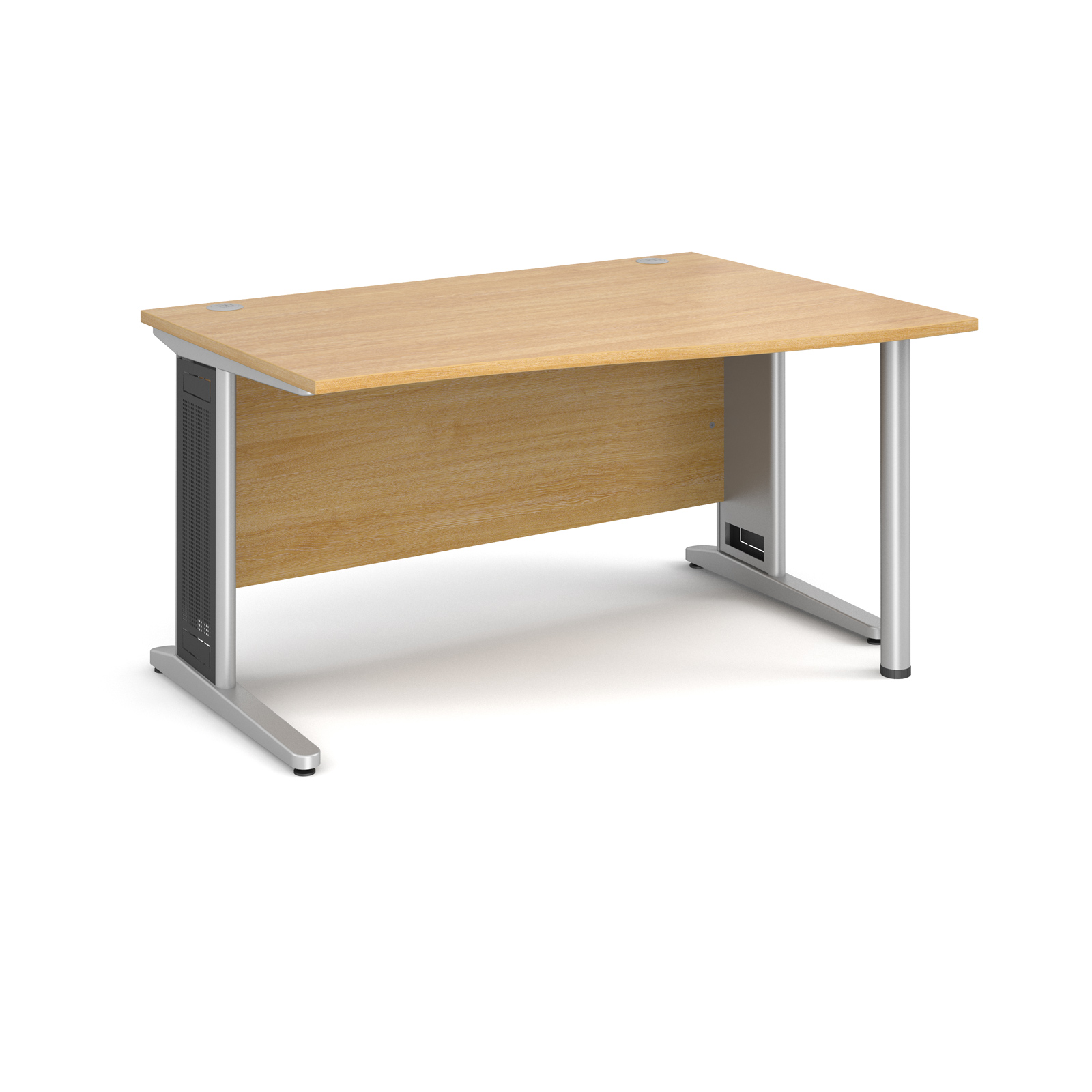 Largo right hand wave desk 1400mm - silver cantilever frame with removable grill, oak top