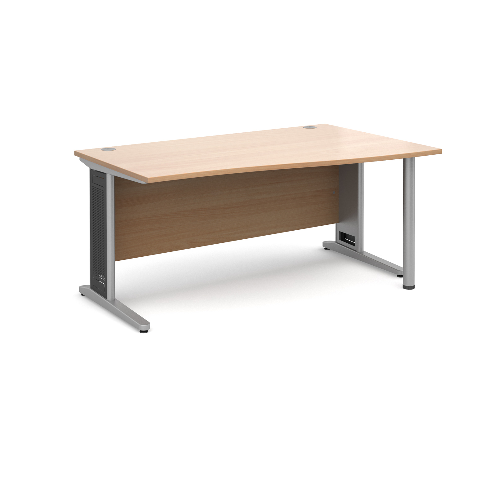 Largo right hand wave desk 1600mm - silver cantilever frame with removable grill, beech top