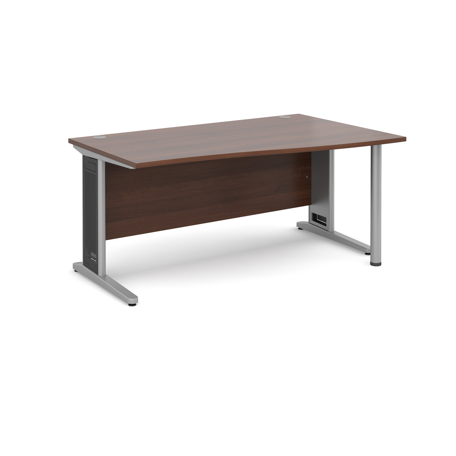 Largo right hand wave desk 1600mm - silver cantilever frame with removable grill, walnut top