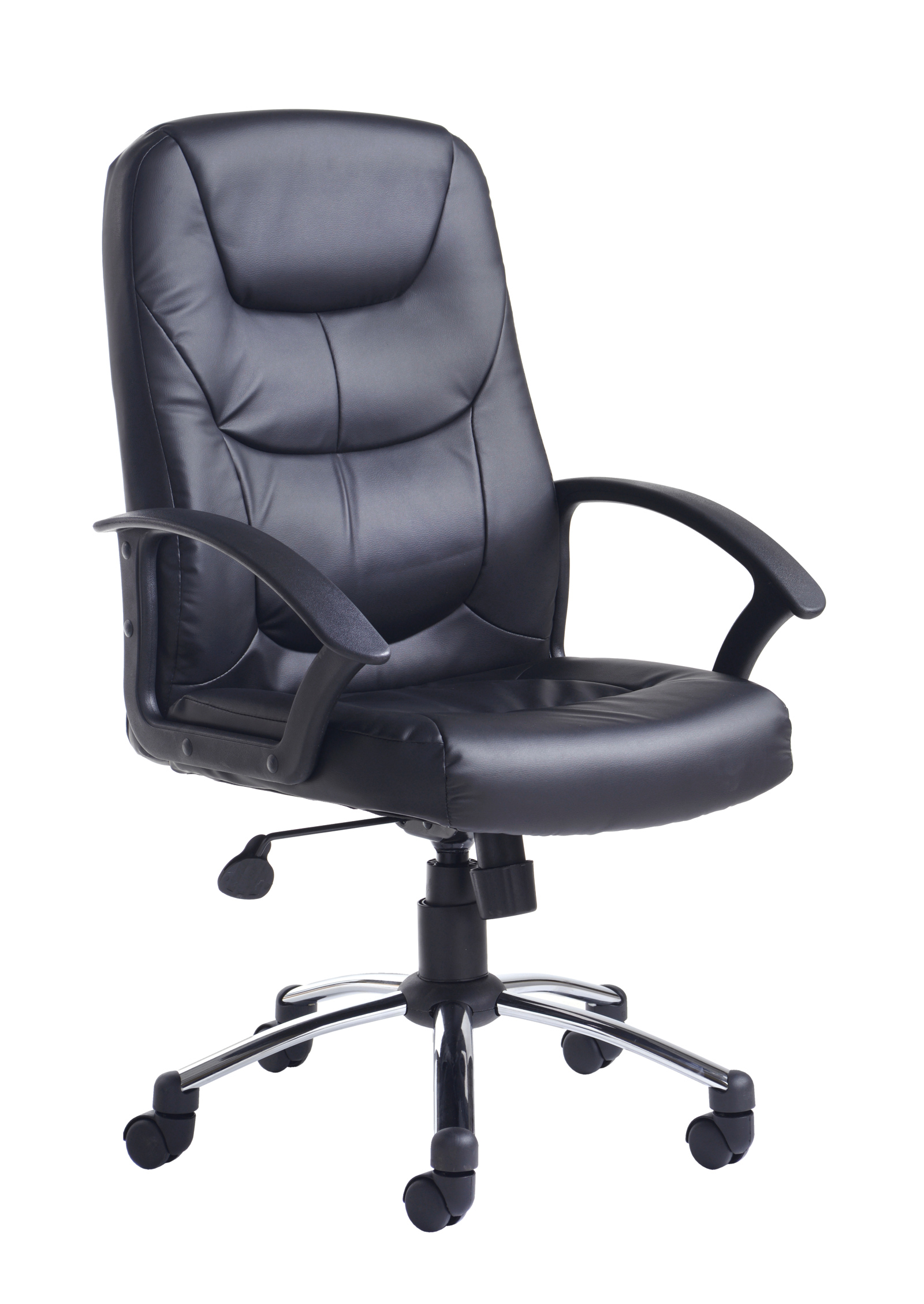 Majestic Manager Chair Leather Faced With Arms Black