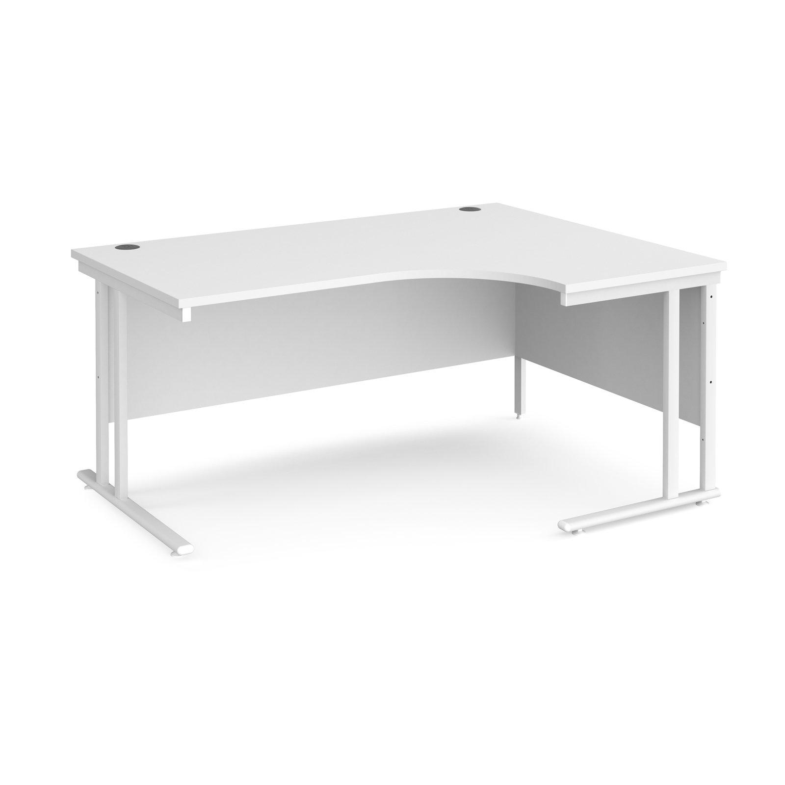 Maestro 25 right hand ergonomic desk 1600mm wide - white cantilever leg frame and white top
