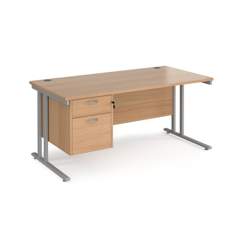 Maestro 25 SL straight desk with 2 drawer pedestal 1600mm - silver cantilever frame, beech top