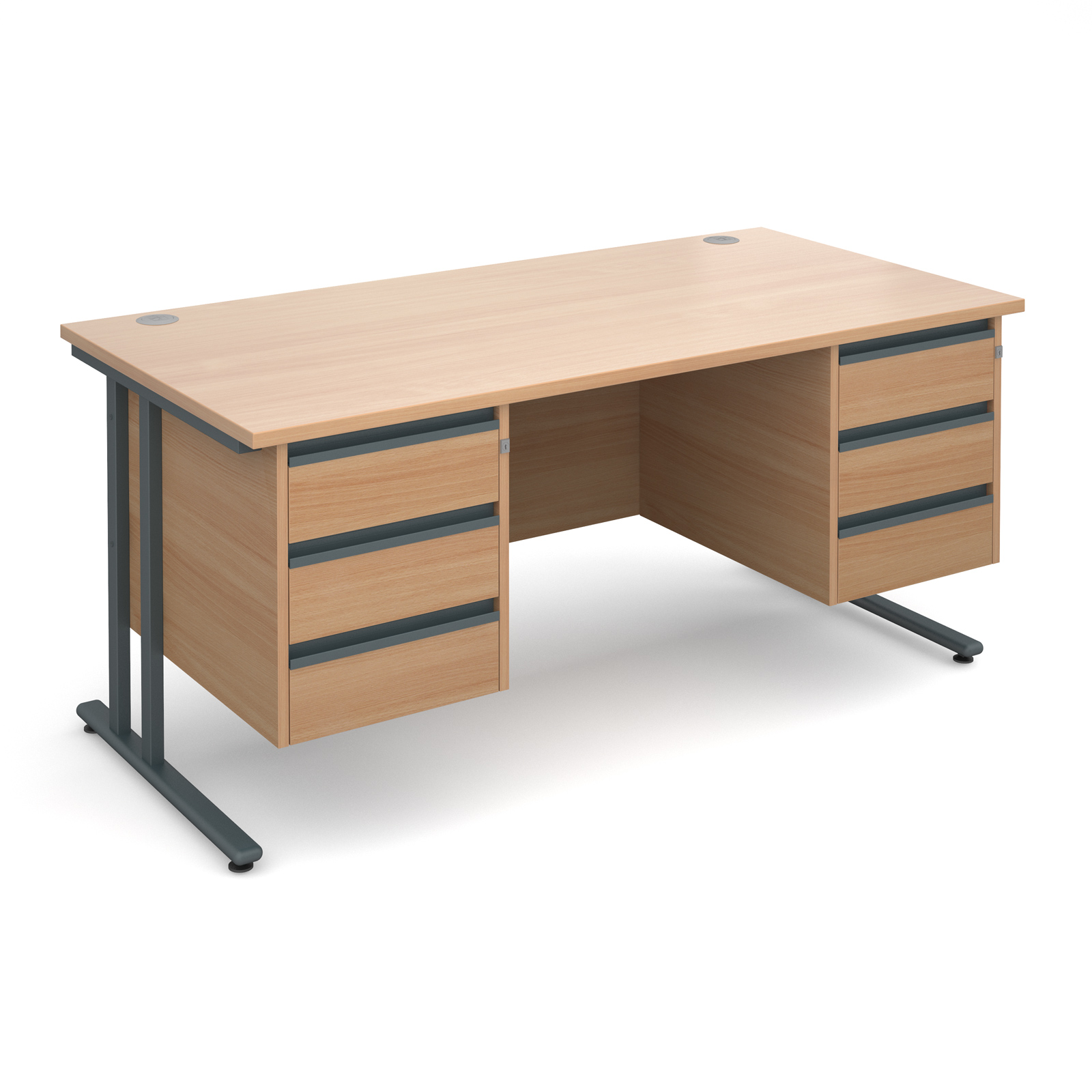 Maestro 25 GL straight desk with 3 and 3 drawer pedestals 1600mm - graphite cantilever frame, beech top