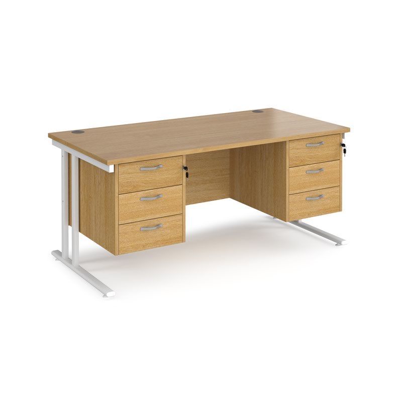 Maestro 25 WL straight desk with 3 and 3 drawer pedestals 1600mm - white cantilever frame and oak top