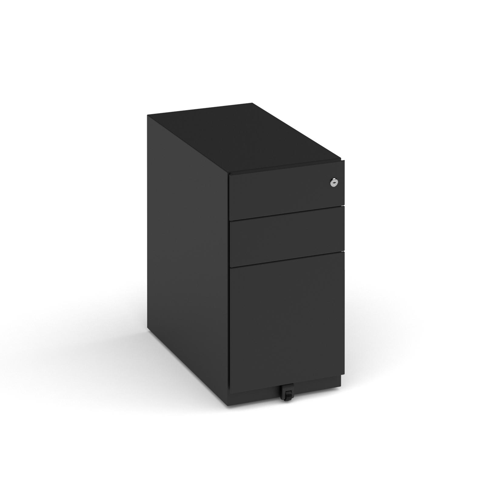 Bisley slimline steel pedestal 300mm wide - black