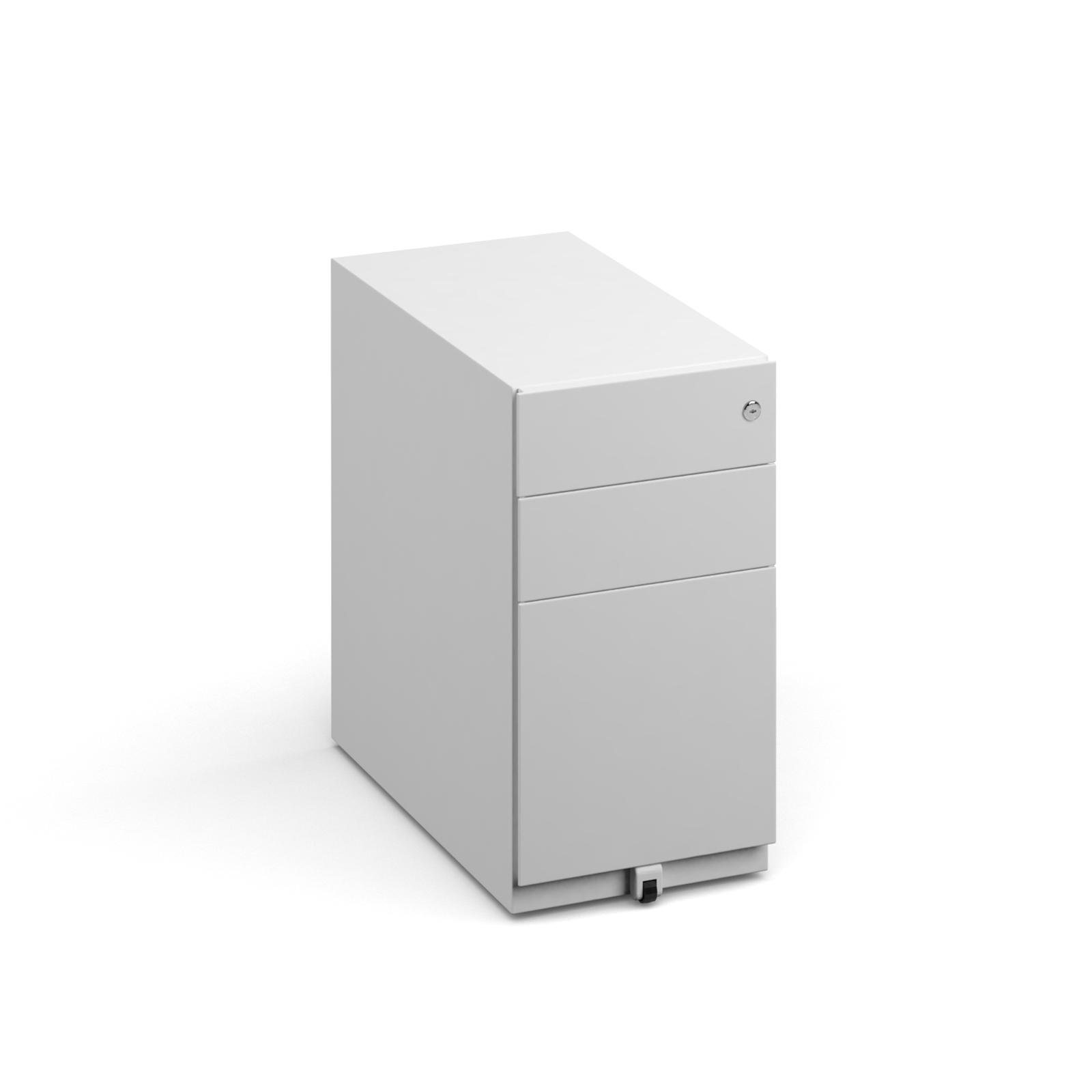 Slimline steel pedestal 300mm wide - white