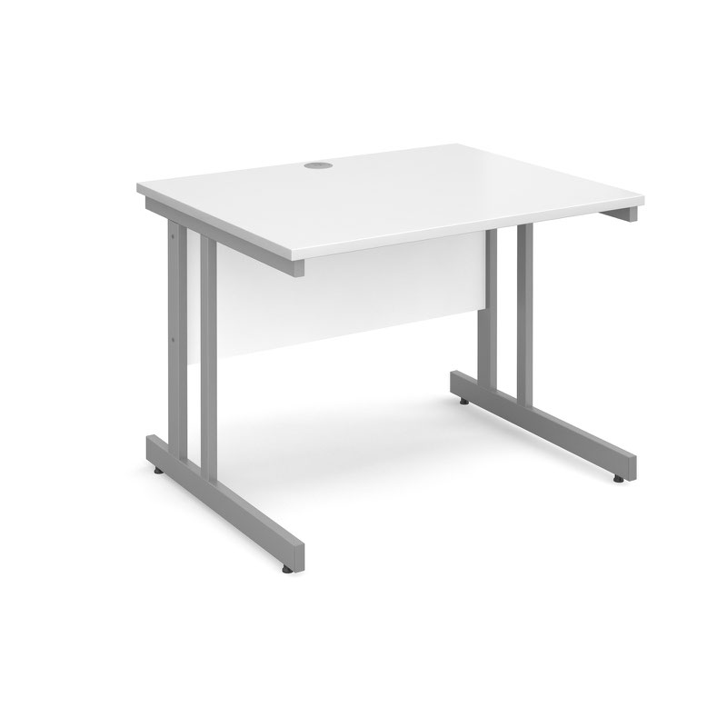 Momento straight desk 1000mm x 800mm - silver cantilever frame, white top