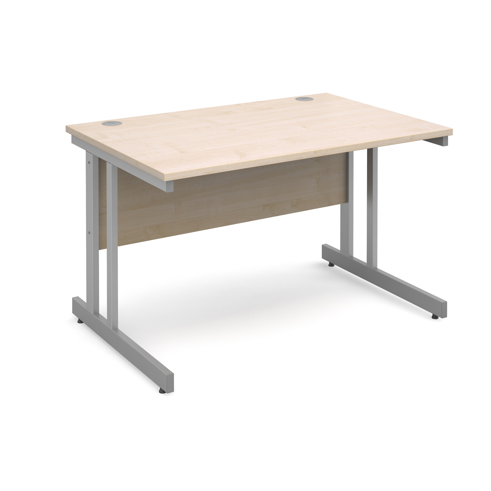 Momento straight desk 1200mm x 800mm - silver cantilever frame, maple top