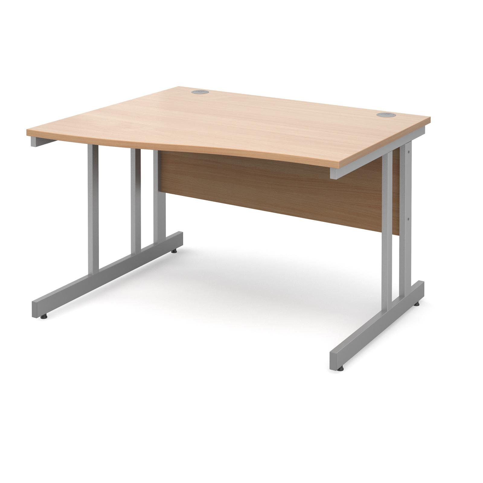 Momento left hand wave desk 1200mm - silver cantilever frame, beech top