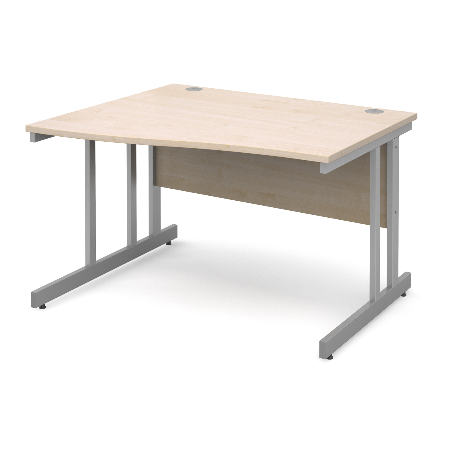 Momento left hand wave desk 1200mm - silver cantilever frame, maple top