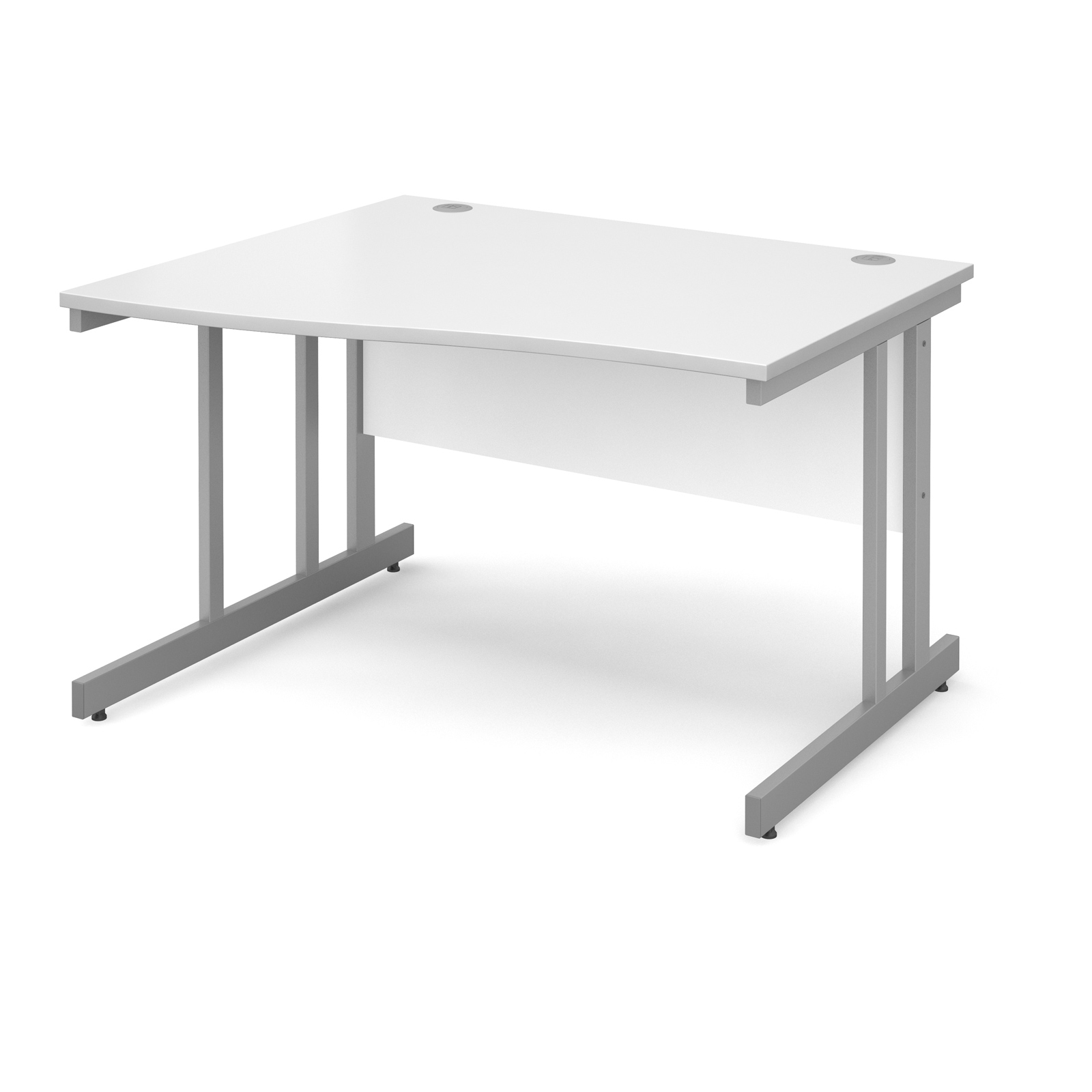 Momento left hand wave desk 1200mm - silver cantilever frame, white top