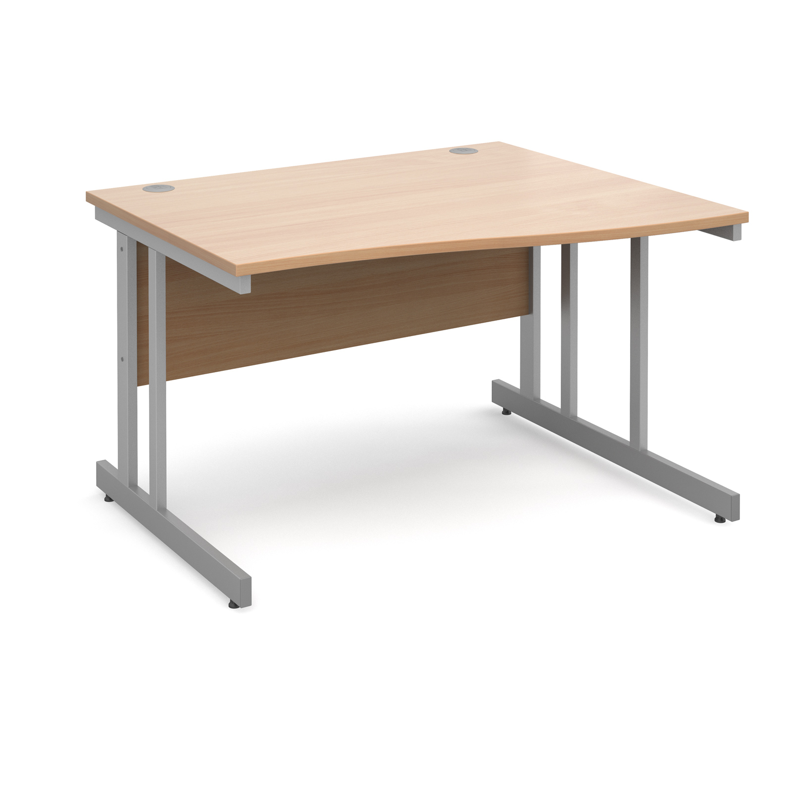 Momento right hand wave desk 1200mm - silver cantilever frame, beech top