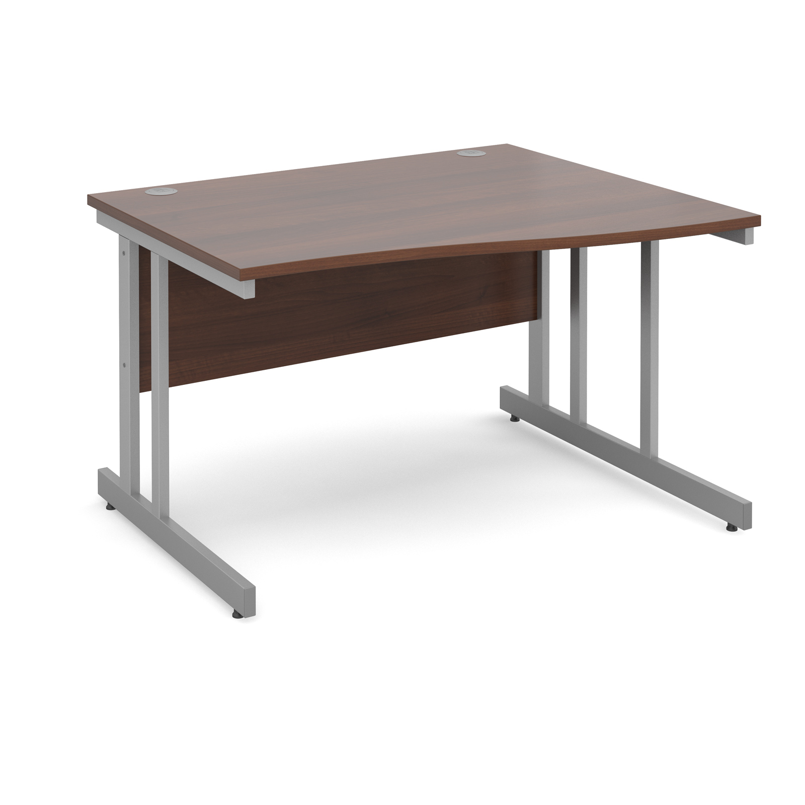 Momento right hand wave desk 1200mm - silver cantilever frame, walnut top
