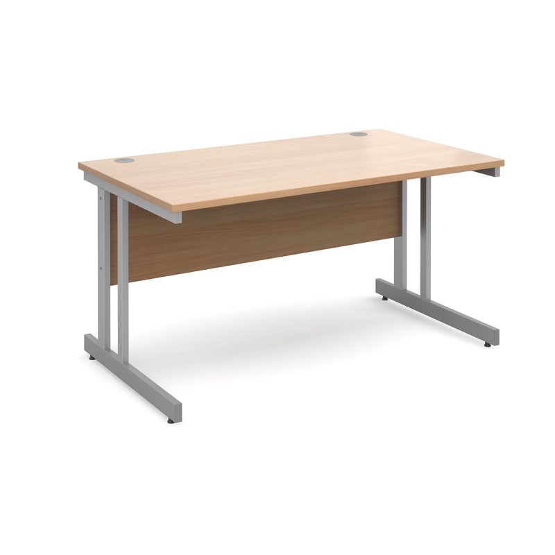 Momento straight desk 1400mm x 800mm - silver cantilever frame, beech top