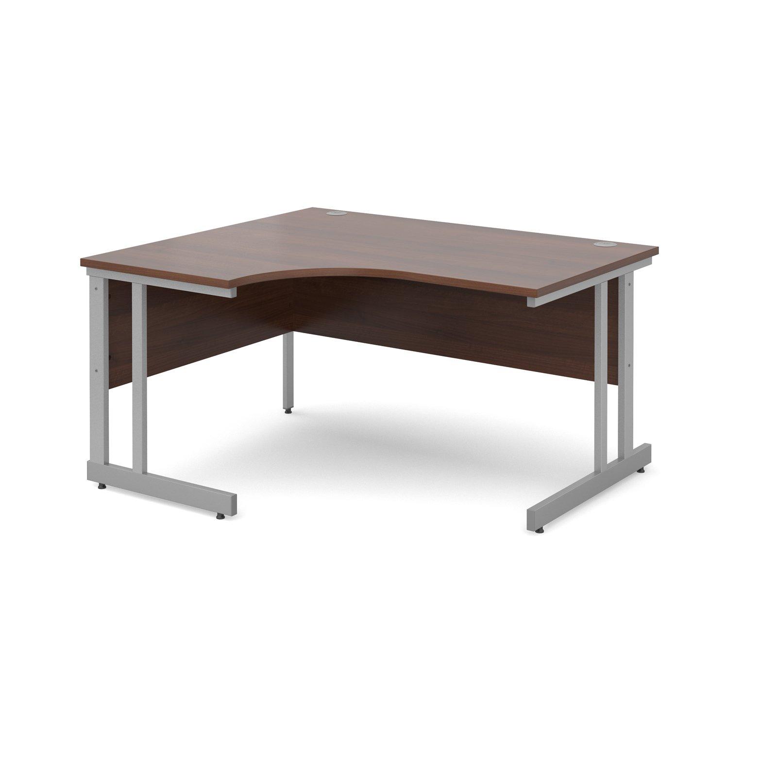 Momento left hand ergonomic desk 1400mm - silver cantilever frame, walnut top
