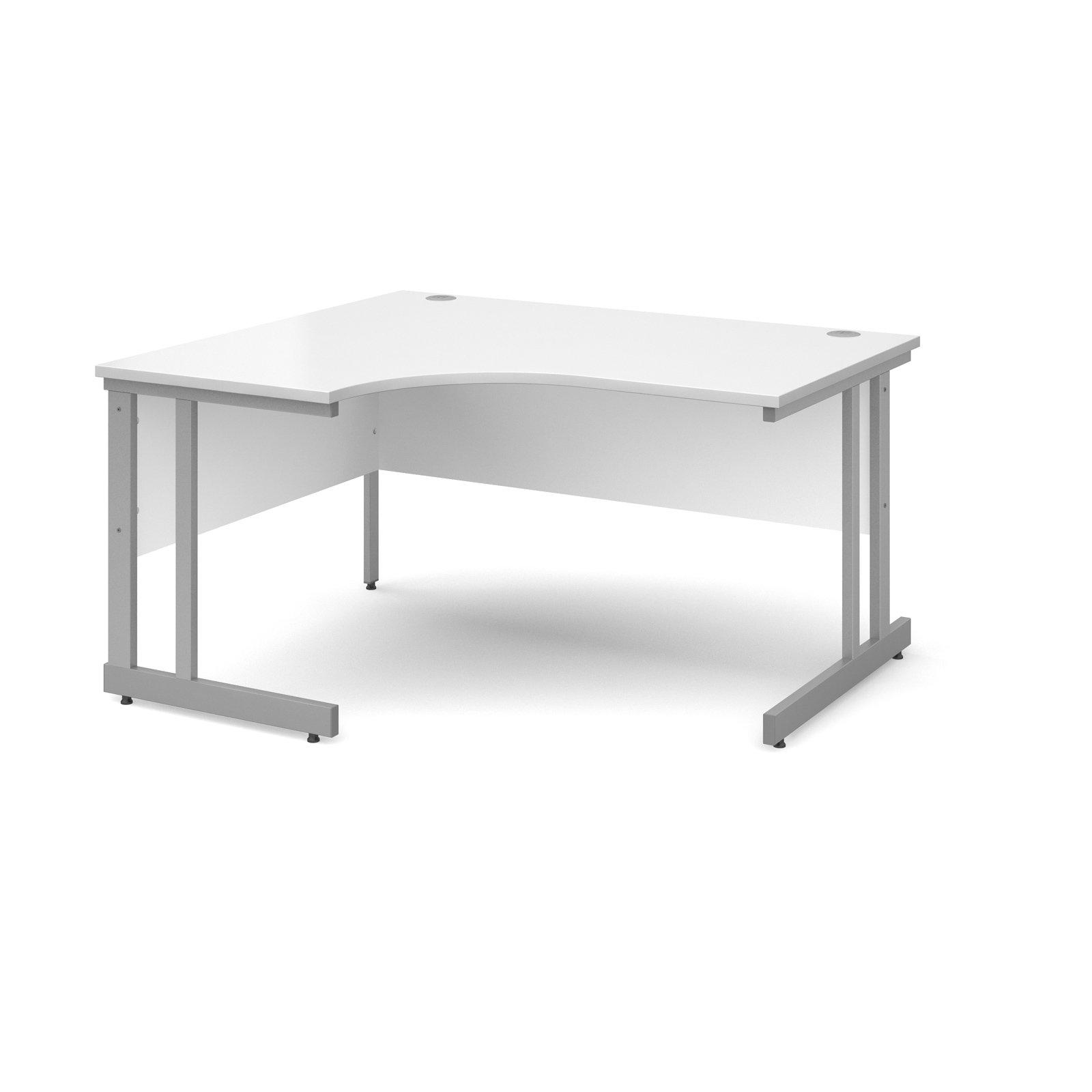 Momento left hand ergonomic desk 1400mm - silver cantilever frame, white top