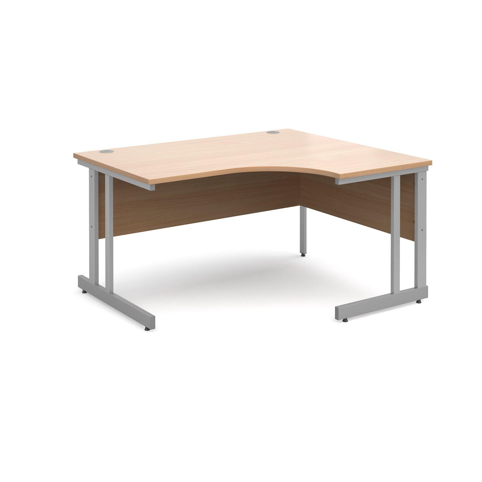 Momento right hand ergonomic desk 1400mm - silver cantilever frame, beech top