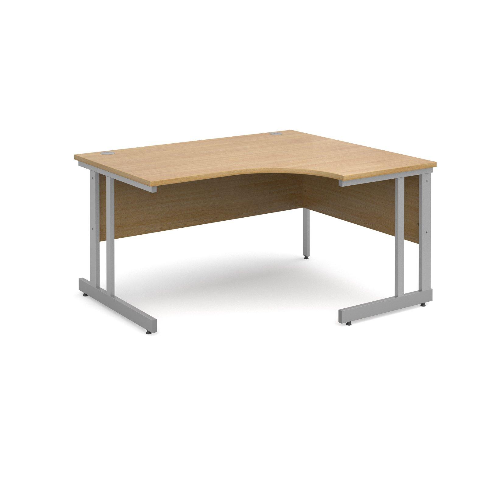 Momento right hand ergonomic desk 1400mm - silver cantilever frame, oak top