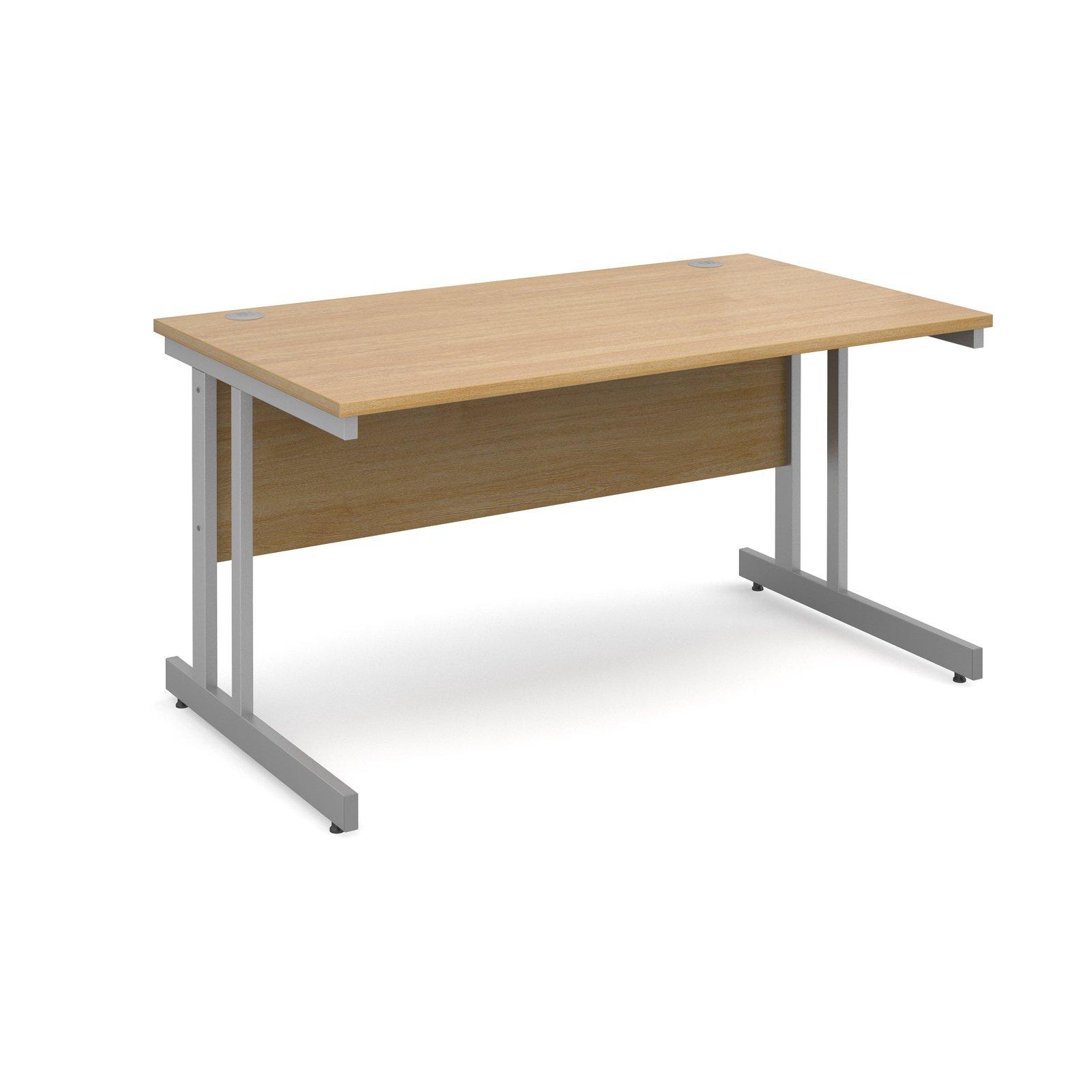 Momento straight desk 1400mm x 800mm - silver cantilever frame, oak top