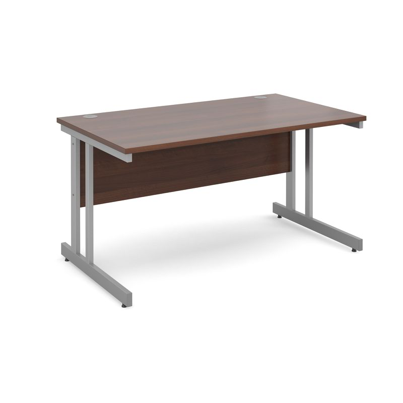 Momento straight desk 1400mm x 800mm - silver cantilever frame, walnut top