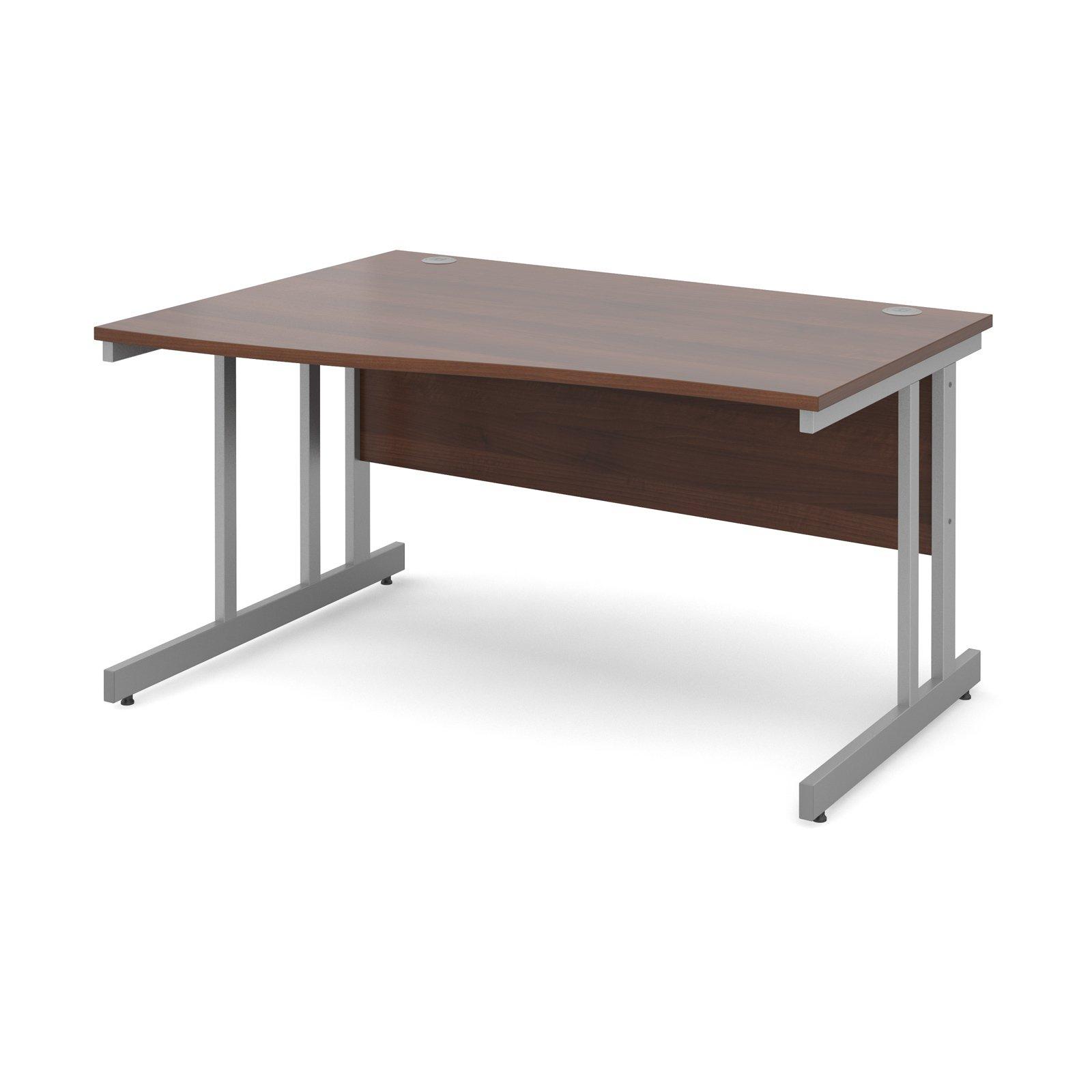 Momento left hand wave desk 1400mm - silver cantilever frame, walnut top