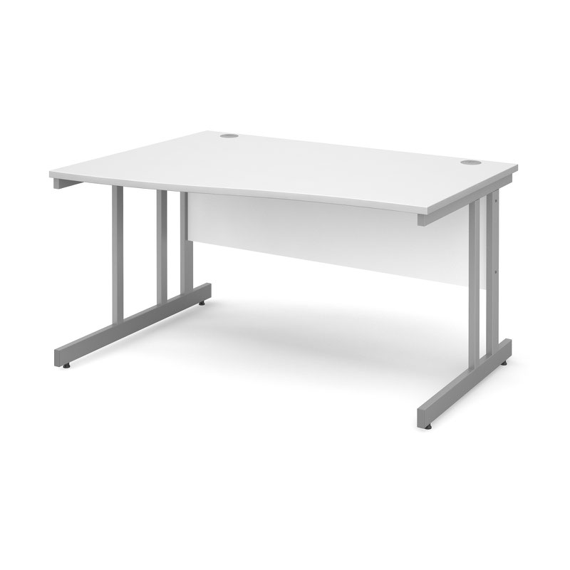 Momento left hand wave desk 1400mm - silver cantilever frame, white top