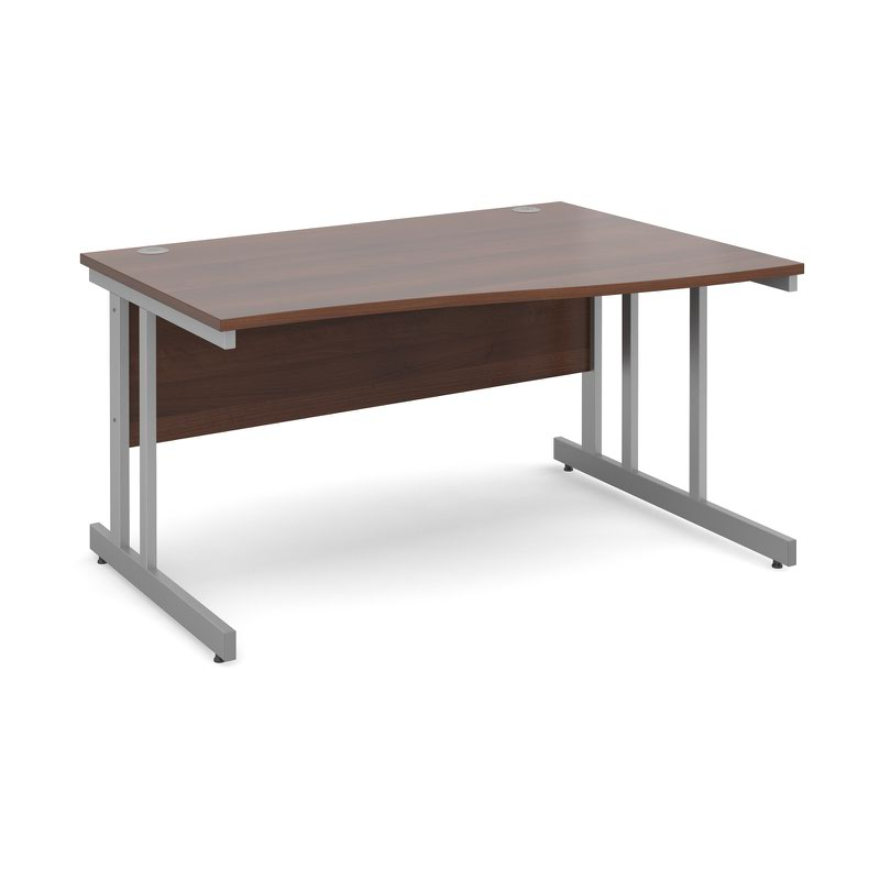 Momento right hand wave desk 1400mm - silver cantilever frame, walnut top