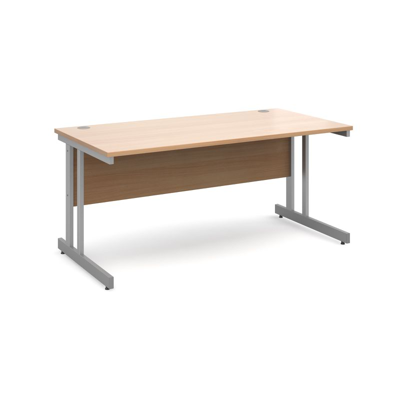 Momento straight desk 1600mm x 800mm - silver cantilever frame, beech top