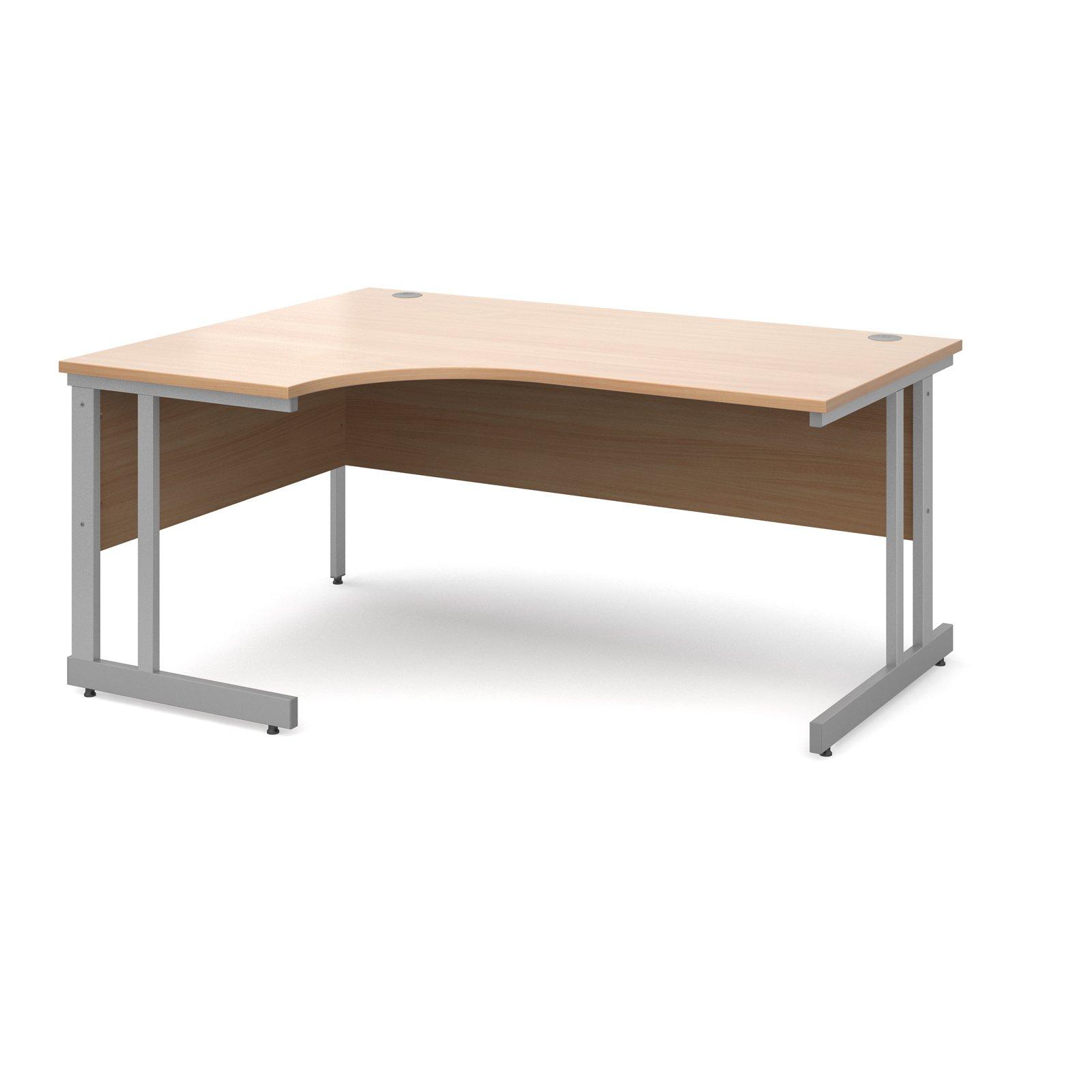 Momento left hand ergonomic desk 1600mm - silver cantilever frame, beech top