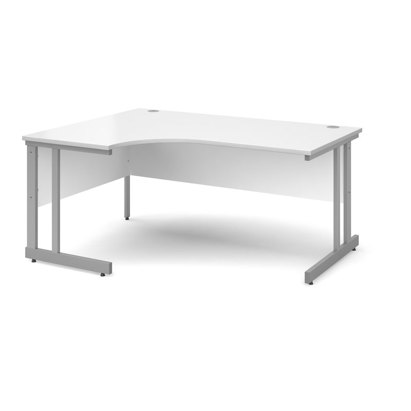 Momento left hand ergonomic desk 1600mm - silver cantilever frame, white top