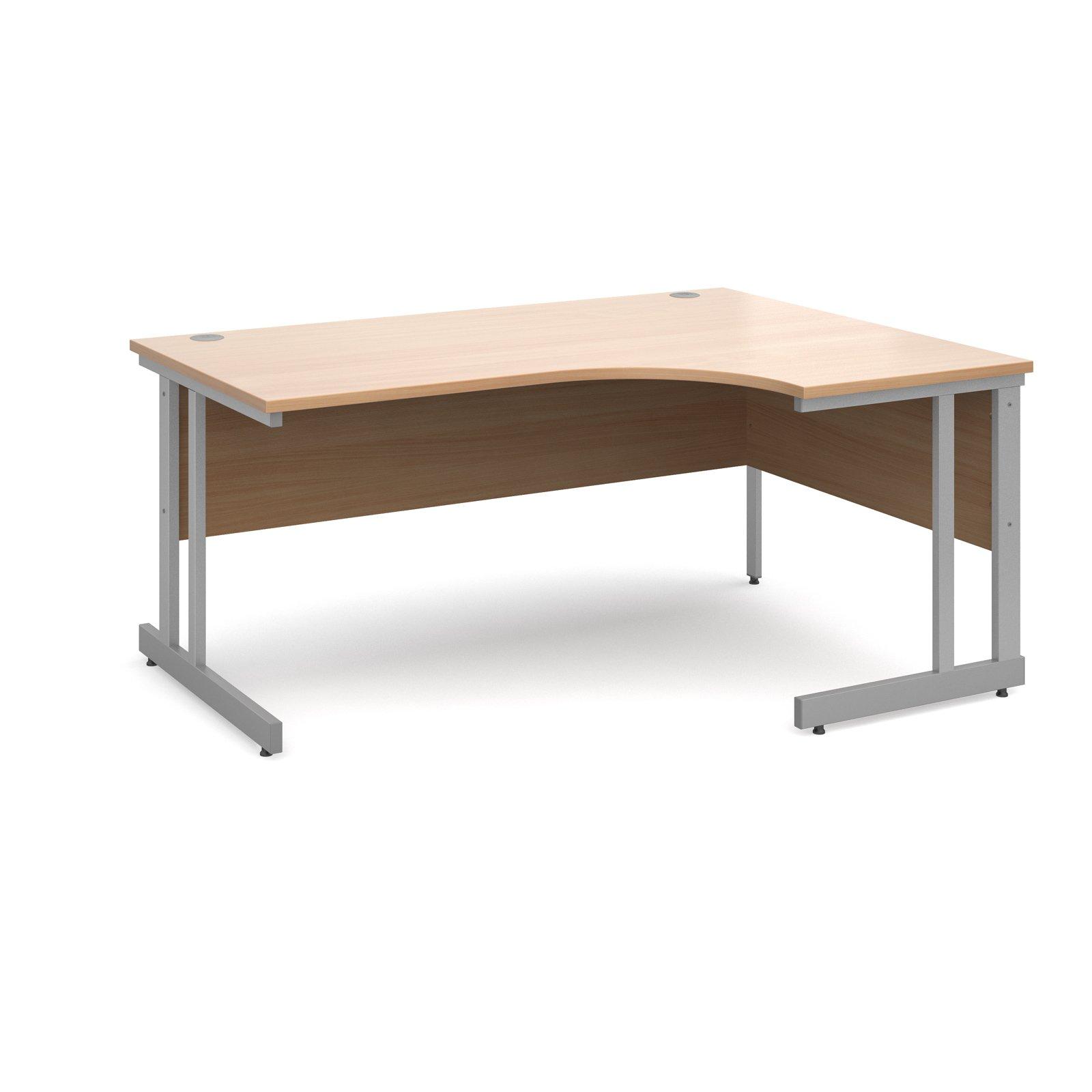 Momento right hand ergonomic desk 1600mm - silver cantilever frame, beech top
