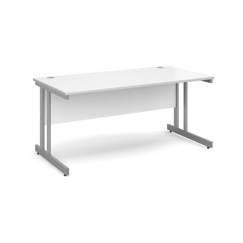 Momento straight desk 1600mm x 800mm - silver cantilever frame, white top