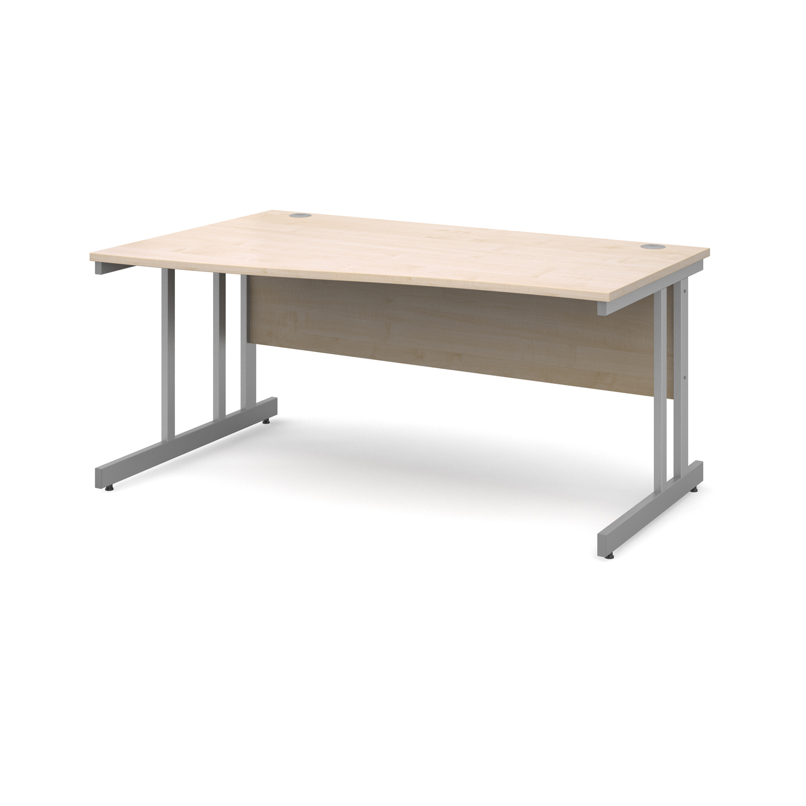 Momento left hand wave desk 1600mm - silver cantilever frame, maple top
