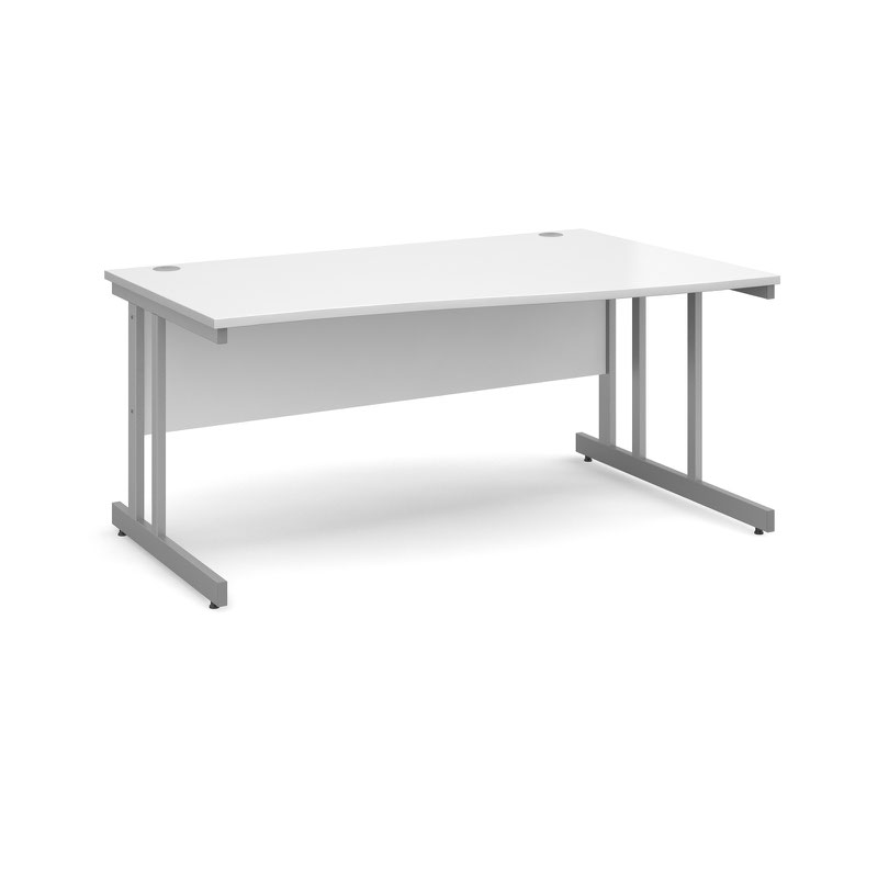 Momento right hand wave desk 1600mm - silver cantilever frame, white top