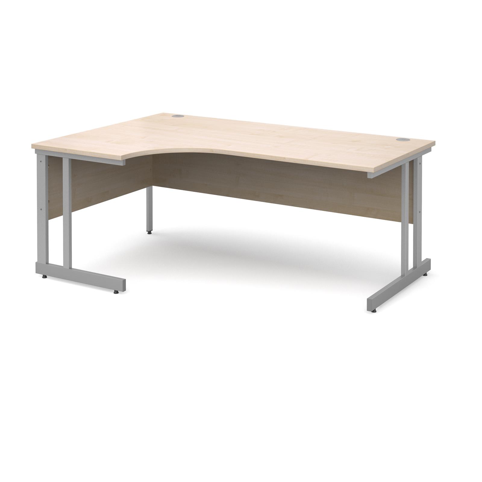 Momento left hand ergonomic desk 1800mm - silver cantilever frame, maple top
