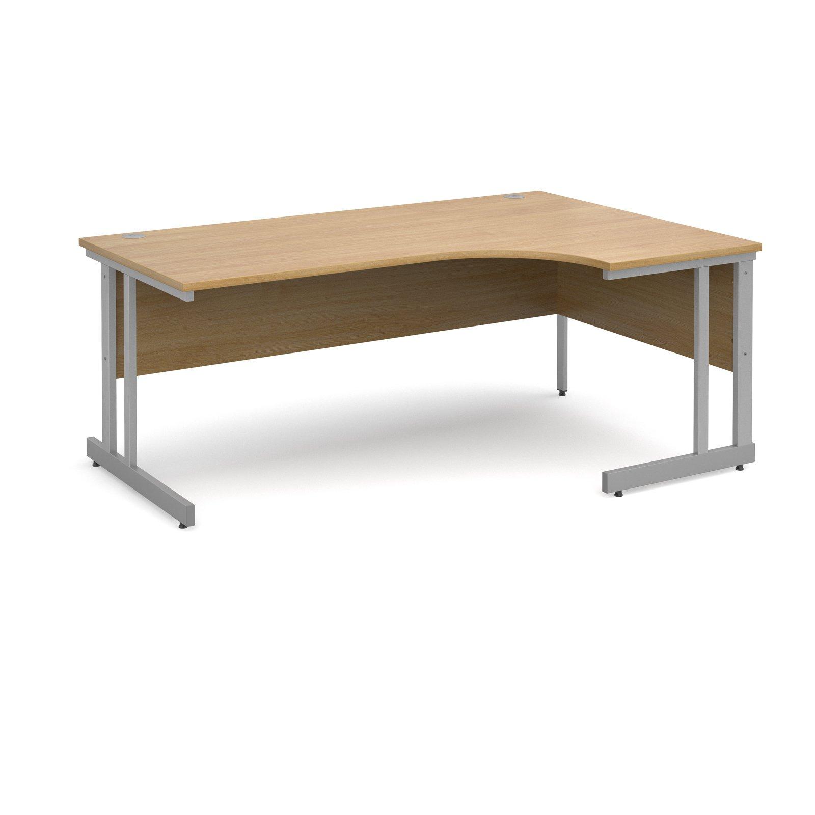 Momento right hand ergonomic desk 1800mm - silver cantilever frame, oak top