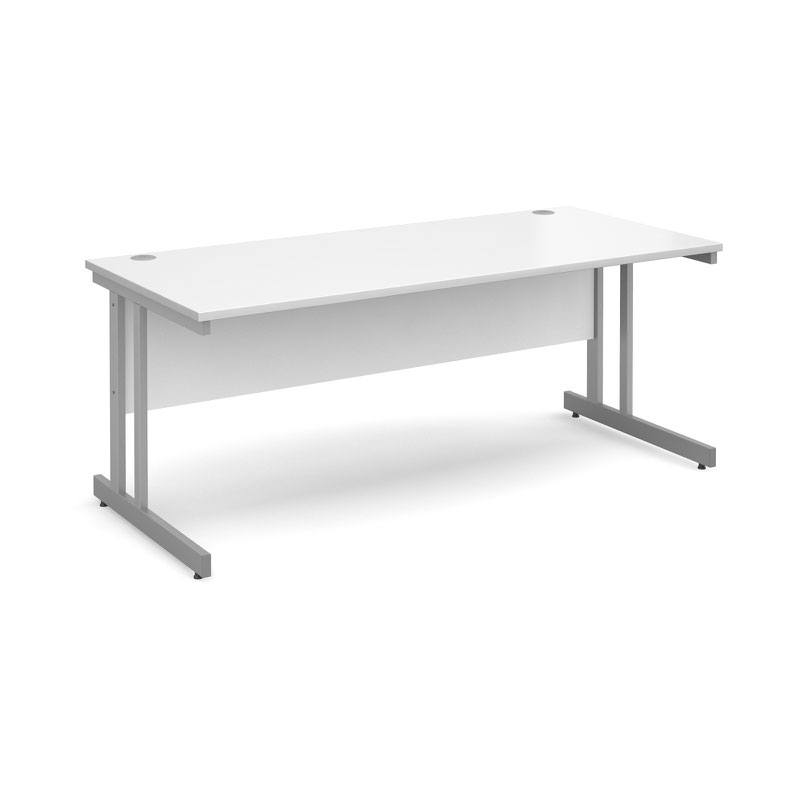 Momento straight desk 1800mm x 800mm - silver cantilever frame, white top