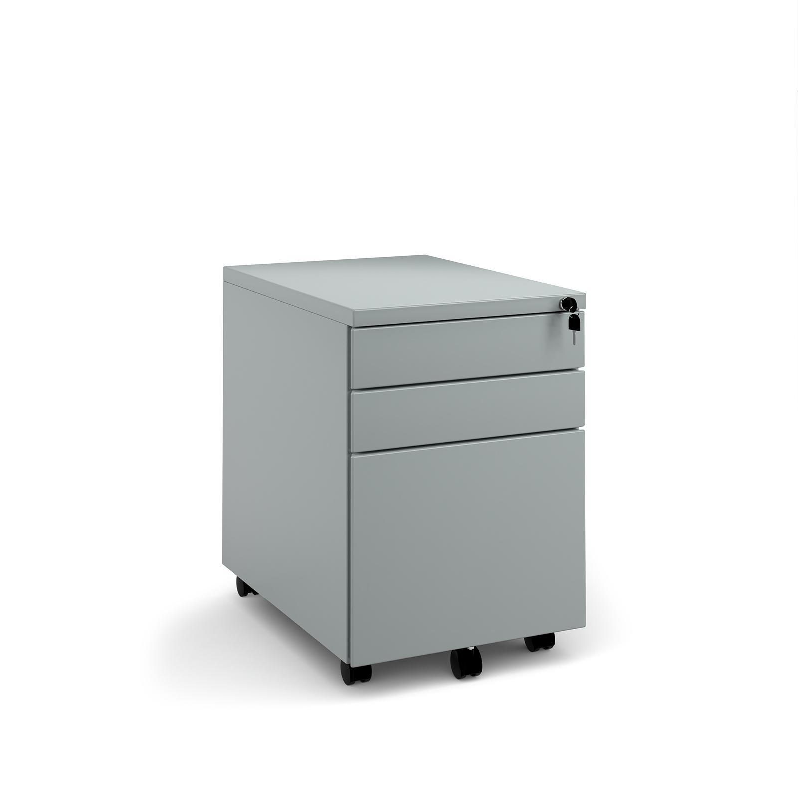 Steel 3 drawer mobile pedestal - silver