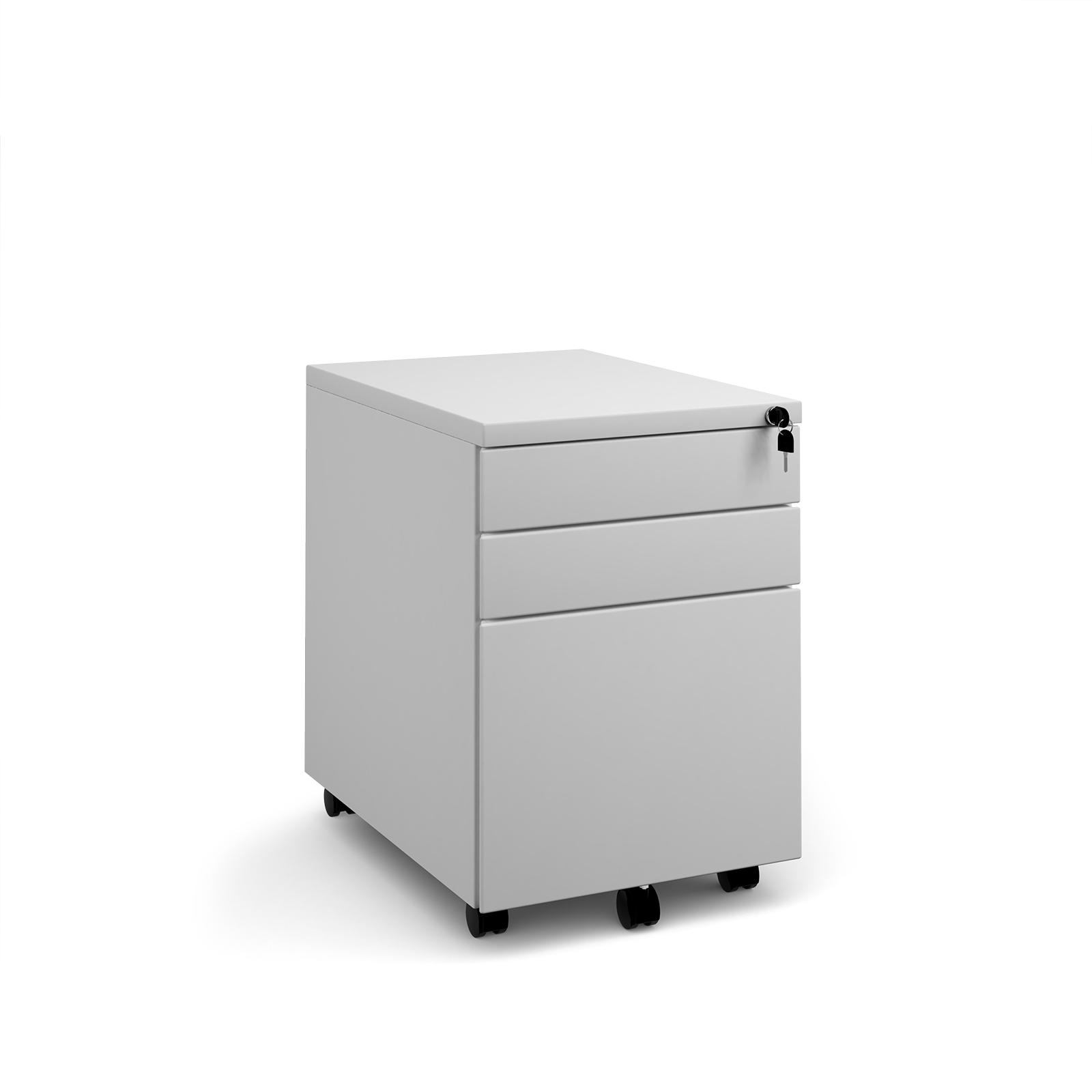 Steel 3 drawer mobile pedestal - white