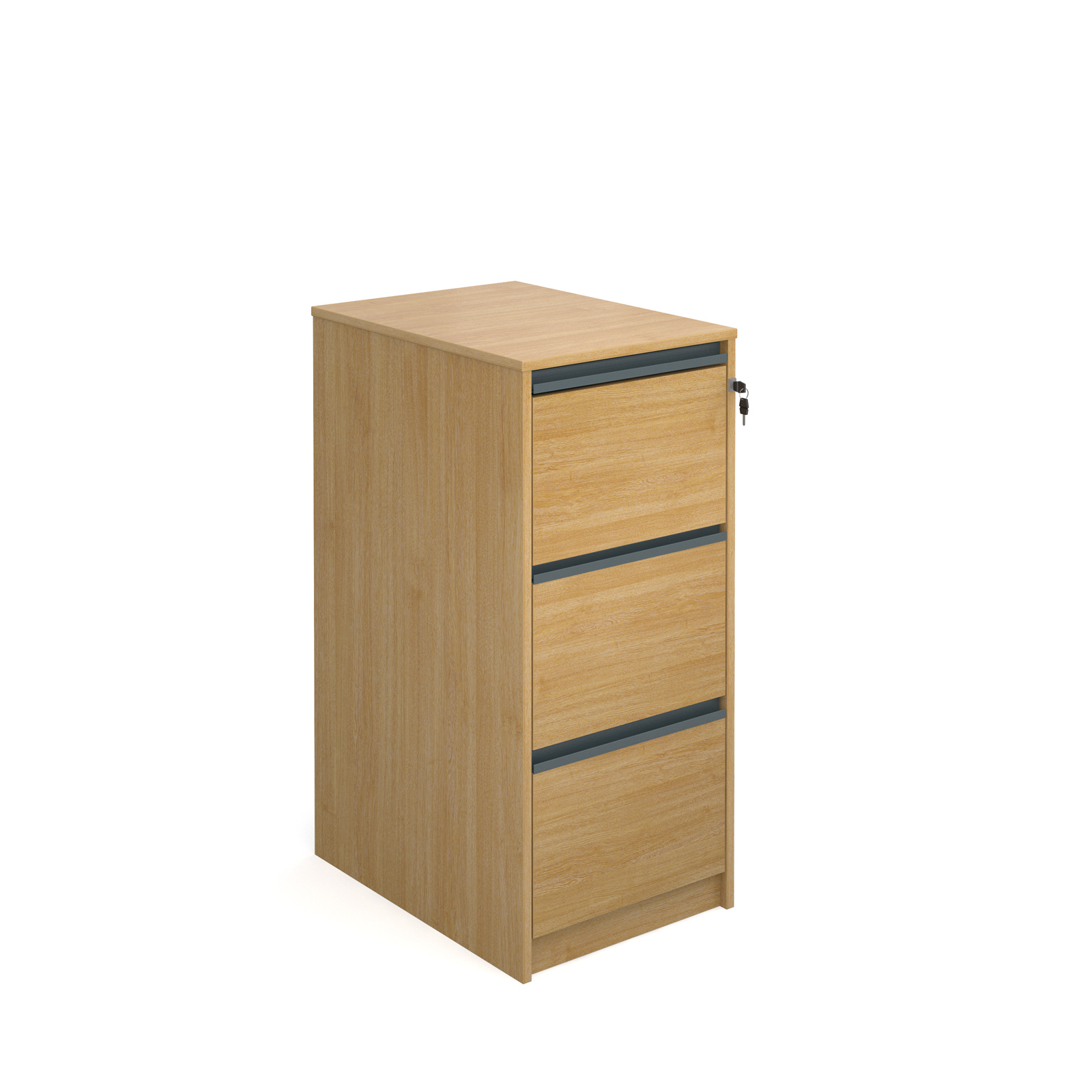 Filing cabinet with 3 drawers and graphite finger pull handles 1038mm high - oak