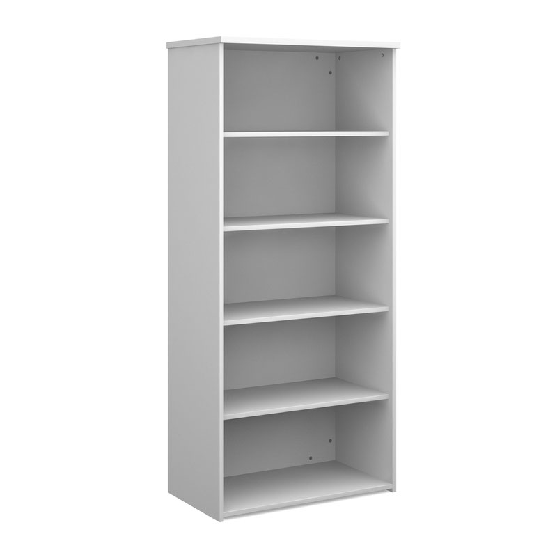 Universal bookcase 1790mm high with 4 shelves - white