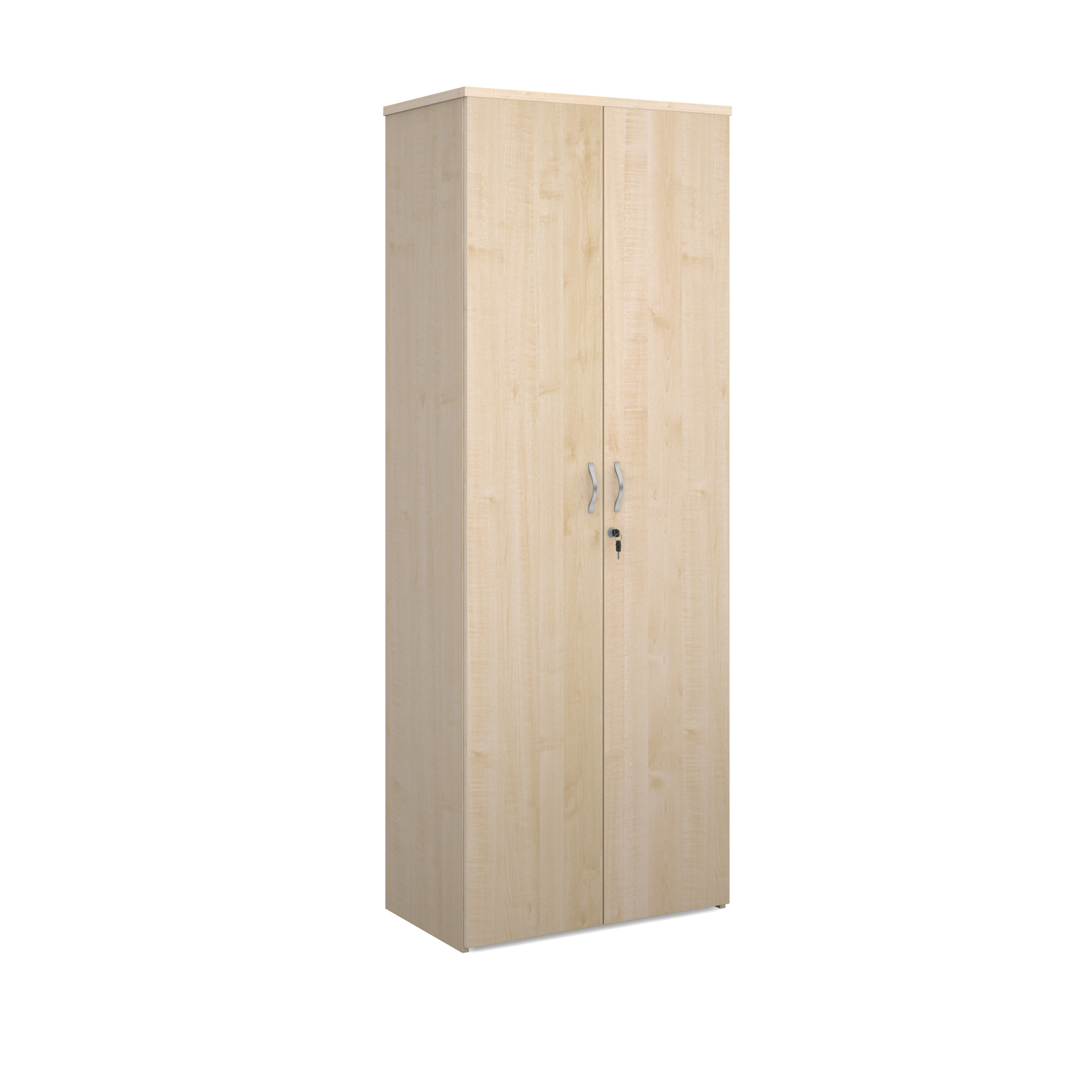 Universal double door cupboard 2140mm high with 5 shelves - maple