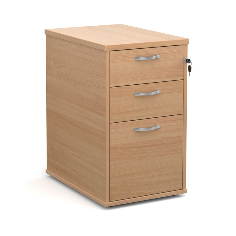 600 Deep 3 Drawer Desk High Pedestal With Handles Beech 426Wx600Dx725H
