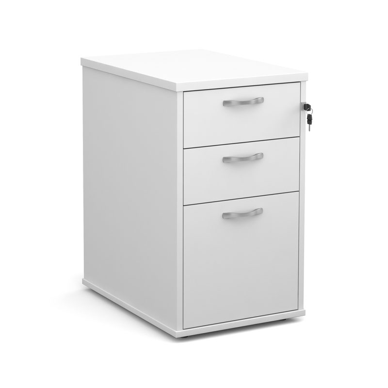 600 Deep 3 Drawer Desk High Pedestal With Handles White 426Wx600Dx725H