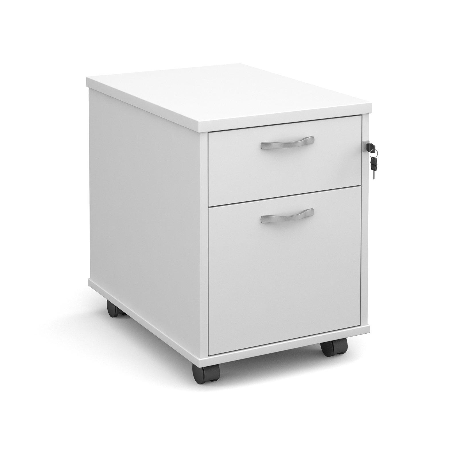 2 Drawer Locking Mobile Pedestal With Handles White 426Wx600Dx567H