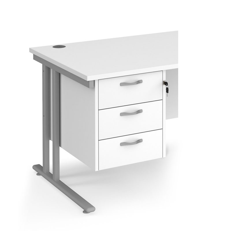 Maestro 25 PL Fixed Pedestal Lockable 3 Drawers White