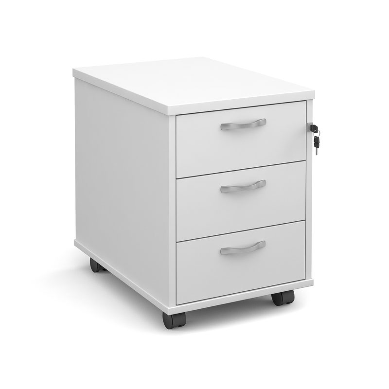 Mobile 3 Drawer Pedestal With Silver Handles 600mm Deep White