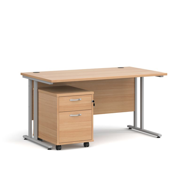 Maestro 25 SL straight desk 1400mm x 800mm with silver cantilever frame and 2 drawer pedestal - beech