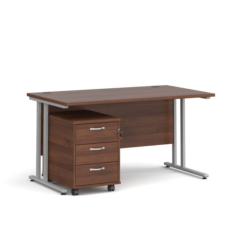 Maestro 25 SL straight desk 1400mm x 800mm with silver cantilever frame and 3 drawer pedestal - walnut