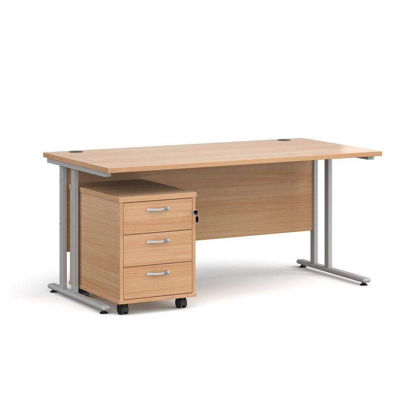 Maestro 25 SL straight desk 1600mm x 800mm with silver cantilever frame and 3 drawer pedestal - beech